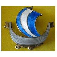 Pin Enamel Vintage Viking Long Boat Signed Norway Sterling Silver Aksel Holmsen