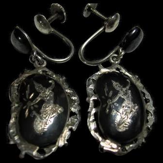 Nelloware Vintage Siam Dancer Dangle Earrings Sterling Silver