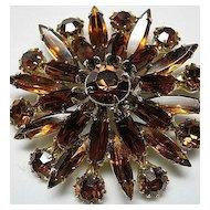 Vintage Honey Topaz Navettes Rounds Fall Rhinestone Flower Brooch/Pin Gold Tone