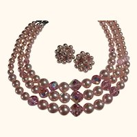 Vintage Set Necklace & Clip-On Earrings Pink Faux Pearl & Crystal Bridal