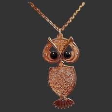 Vintage Signed Coventry Articulating Owl Pendant Necklace
