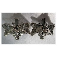 Vintage Mexican Sterling Silver 925 Grapes Clip Earrings