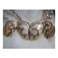 Necklace & Earrings SET KJL Kenneth J. Lane Enamel Butterfly