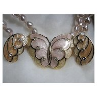 Necklace & Earrings SET KJL Kenneth J. Lane Enamel Butterfly