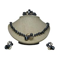 Necklace, Bracelet, Clip-On Earrings Signed  Faux Pearls/Art Glass Vintage Demi Set