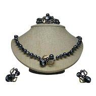 Necklace, Bracelet, Earrings Signed  Faux Pearls/Art Glass Beads Vintage Set