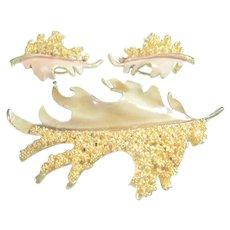 Vintage BSK Enamel & Textured Leaf Brooch & Clip-On Earrings Set
