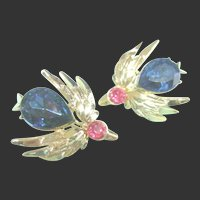 Signed Dodds 2 Vintage Flying Birds Blue Belly Scatter Pins / Brooches