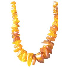 Stunning Honey Amber Fat Chunky Nugget Necklace