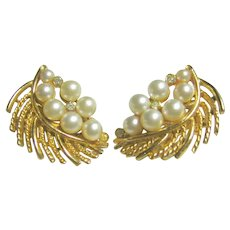 Vintage Signed Lisner Faux Pearls & Crystal Leaf Clips