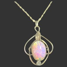 Vintage Signed Van Dell Gold Filled Faux Opal Dainty Pendant / Necklace