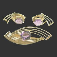 Vintage Gold Filled Pin & Earrings Set with Amethysts