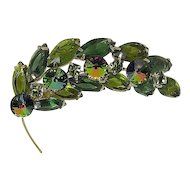 Pin/Brooch Rhinestone Fall Leaf  Marquis Emerald/Green, Watermelon Rivoli