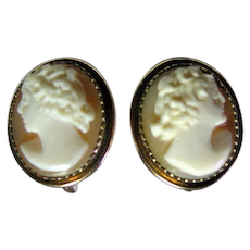Vintage Gold Filled Nicely Carved Shell  Cameo Screw Back earrings.
