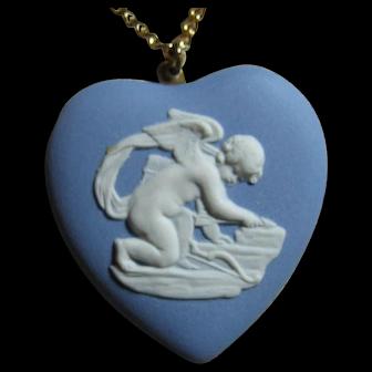 Cupid Blue & White Wedgwood Heart Pendant/Necklace