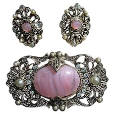 1928 Co. Pink Art Glass & Faux Pearl Brooch & Post Earrings Set