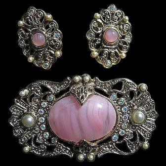 1928 Co. Pink Art Glass & Faux Pearl Brooch & Post Earrings Set