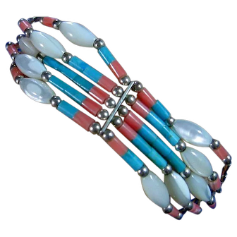 So Western Style Dainty Bracelet Silver 925, Turquoise, Mother of Pearl  & Coral Beads