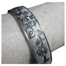 Signed Bracelet Hayward Sterling Silver 925 Rose Embossed