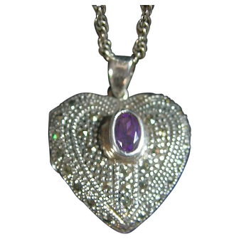 Sterling Silver 925 Puffy Heart Locket Marcasite & Amethyst Pendant / Necklace