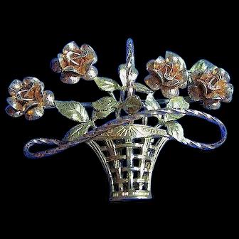 Vintage Krementz Basket of Roses Brooch Pin 2 Tone