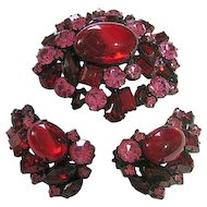 Vintage Signed Robert Deep Red & Pink Rhinestone Japanned Brooch & Clip Earrings Set