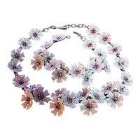 Vintage Necklace & Small Bracelet Flower Set Enamel White, Lavender & Purple Rhinestones