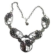 Vintage Sterling Silver 925 Stunning Floral Necklace