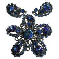 Signed Brooch & Earrings Set Vintage Blue Rivoli Rhinestone