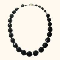 Necklace Vintage Signed Hobe Black Fat Beads