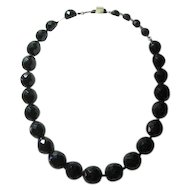 Vintage Signed Hobe Black Fat Bead Necklace