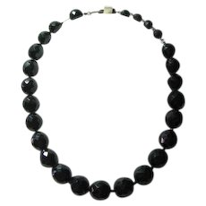 Vintage Signed Hobe Black Beads Necklace