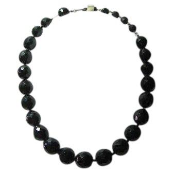 Vintage Signed Hobe Black Fat Bead Necklace