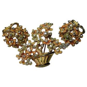 Signed Vintage Set Ming Tree Figural Brooch & Earrings