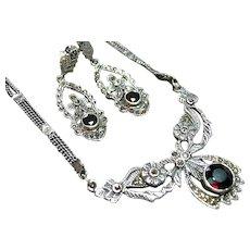 Sterling Silver 925 Marcasite/Garnet Necklace/Earrings Vintage Set