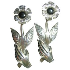 Sterling Silver 925 Hand & Flower Pierced Earrings