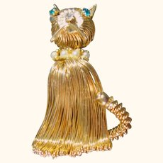 Cutest Vintage Wired Cat Gold Tone Brooch / Pin