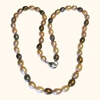 Cultured Fresh Water Pearl Necklace Multi-Colored