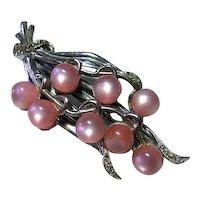 Vintage Fur Clip Brooch Pink Moonglow Beads & Rhinestones Silver Tone