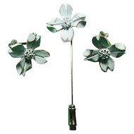 Signed Napier Dainty Enameled Dogwood Earrings & Stick Pin Set