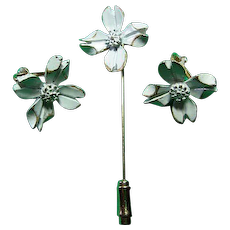 Signed Napier Dainty Enameled Dogwood Earrings & Stick Pin Set