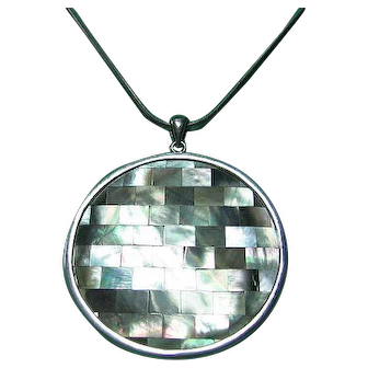 Large Abalone Inlaid 925 Sterling Silver Pendant Double Sided
