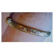 Vintage Gold Filled 14kt Fine Narrow Bangle Bracelet Dainty Engraved w/Flower