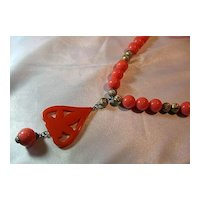 Vintage Cadoro Pendant/Necklace Faux Coral & Gold Tone Beads