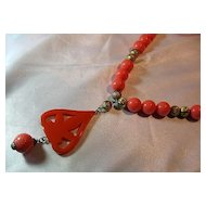 Vintage Signed Cadoro Pendant/Necklace Simulated Coral & Gold Tone Beads