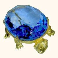 Signed Dodds Vintage Big Blue Turtle Brooch / Pin