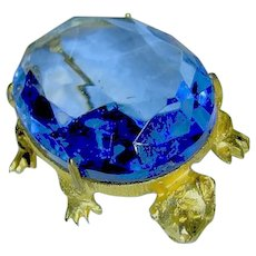 Signed Dodds Vintage Big Blue Turtle Brooch / Pin