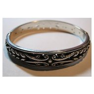 Signed Brighton Silver Tone Bangle Bracelet  Intricate Open Work