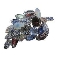Blues/Purple Multi-Colored Dimensional Rhinestone Leaf  Brooch/Pin