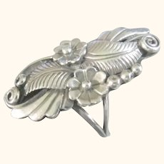 Women's Ring Size 6 Native American Signed Squash Blossom Sterling Silver 925